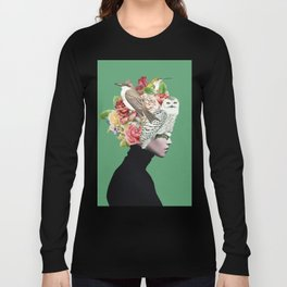 Lady with Birds(portrait) 2 Long Sleeve T-shirt