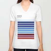 ponyo V-neck T-shirts featuring The colors of - Ponyo by hyos