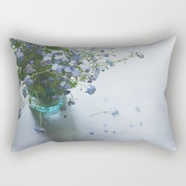 Forget-me-not bouquet in Blue jar Rectangular Pillow