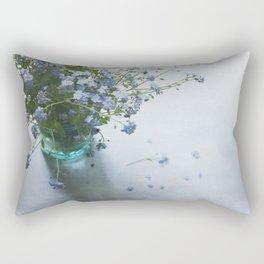 Forget-me-not bouquet in Blue jar Rectangular Pillow