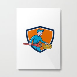 Plumber Carrying Monkey Wrench Toolbox Shield Metal Print