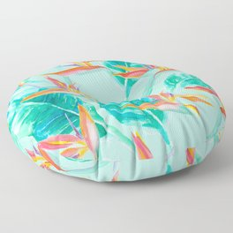 Birds Of Paradise Mint Floor Pillow