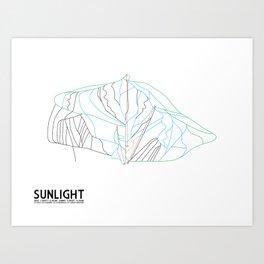 Sunlight Mountain Resort, CO - Minimalist Winter Trail Art Art Print