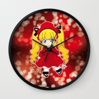 chibi Wall Clocks featuring Chibi Shinku by Yue Graphic Design