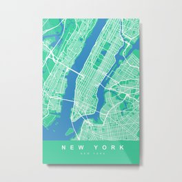 New York Map Print | Green II | More Colors, Review My Collections Metal Print
