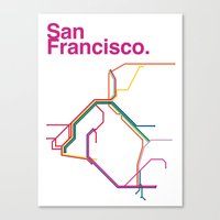san francisco map Canvas Prints featuring San Francisco Transit Map by Ariel Wilson