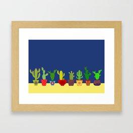 Cactus in blue Framed Art Print