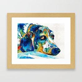 Colorful Beagle Dog Art By Sharon Cummings Framed Art Print