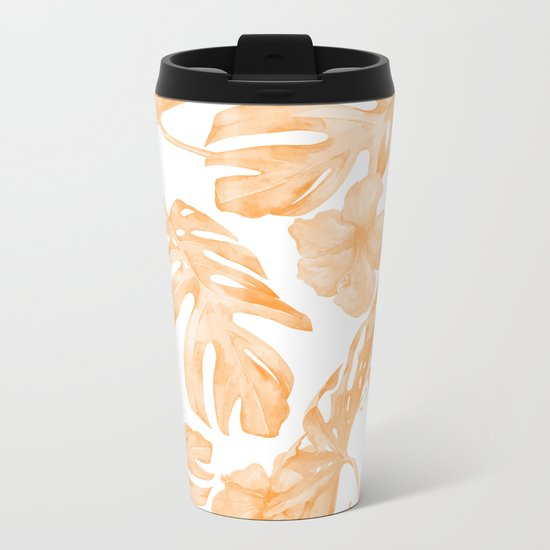Island Vacation Hibiscus Palm Leaf Coral Orange Metal Travel Mug