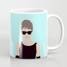 Audrey Hepburn Inspired // Iconic British Model Actress Fashion Movie Scene by Mighty Face Designs Coffee Mug