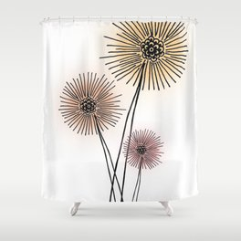 Coral pink Dandelion Shower Curtain