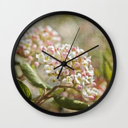Vintage Inspired Pink and White Woodland Flowers with French Script Wall Clock