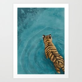 Tiger wading Art Print