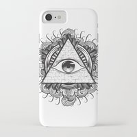 all seeing eye iPhone & iPod Cases featuring All Seeing Eye by E1 illustration