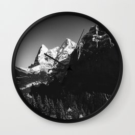 Swiss Alps Black and White Wall Clock