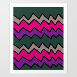 Green and Pink Zig Zags Art Print