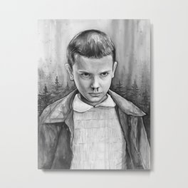 Eleven Watercolor Painting Black and White Metal Print