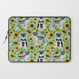 Schnauzer sunflowers spring summer floral dog breed dog pattern pet friendly Laptop Sleeve