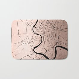 Bangkok Thailand Minimal Street Map - Rose Gold Pink and Black Bath Mat