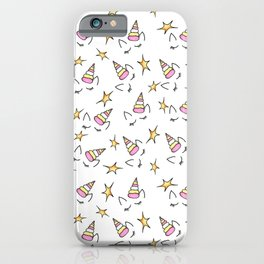 Cute and Kitsch Unicorn and Star Repeating Pattern iPhone Case
