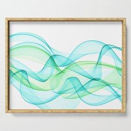 Sea Wave Pattern Abstract Aqua Blue Green Waves Serving Tray