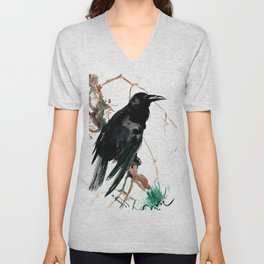 raven, raven crow artwork black brown Unisex V-Neck