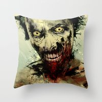 dead Throw Pillows featuring UNDEAD by Fresh Doodle - JP Valderrama