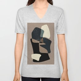 Clay Shapes Black, Teal and Offwhite Unisex V-Neck