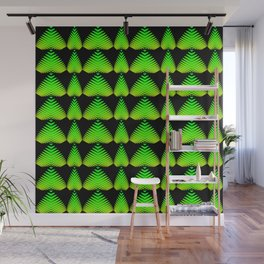 Alternating pattern of lime hearts and stripes on a black background. Wall Mural
