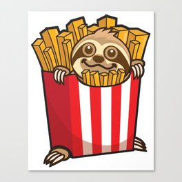 Sloth Fries Canvas Print