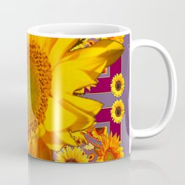 Awesome Patterned Golden Sunflower Art Coffee Mug