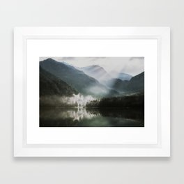 Dreamlike Morning at the Lake - Nature Forest Mountain Photography Framed Art Print