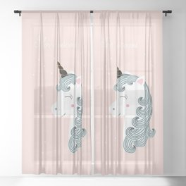 I love unicorns Sheer Curtain