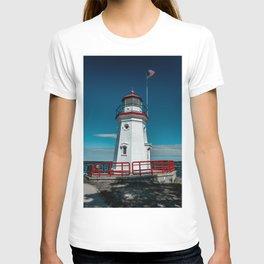Cheboygan Crib Lighthouse Lake Huron Michigan Great Lakes Light Station T-shirt