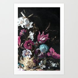 Vintage Flowers and Bugs Art Print