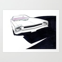 1970 Muscle Car Front End Drawing Art Print