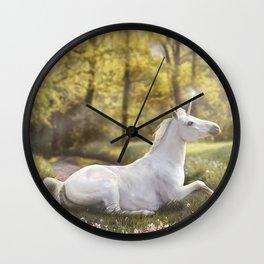 Unicorn In A Field Wall Clock
