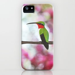 ruby throated hummingbird - male on pink bokeh iPhone Case