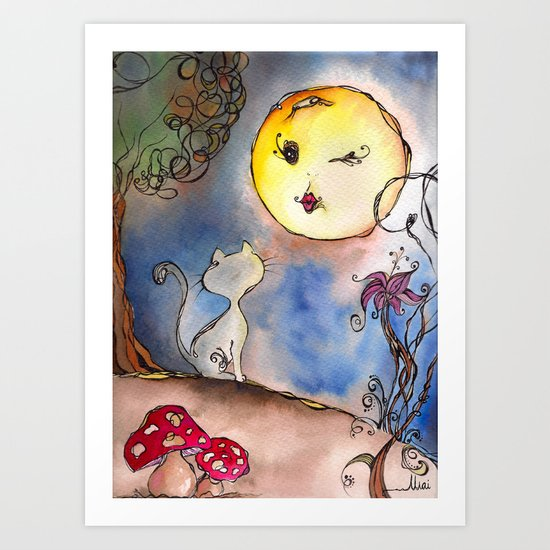 Love Cat and Moon Art Print