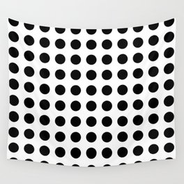 Simply Polka Dots in Midnight Black Wall Tapestry
