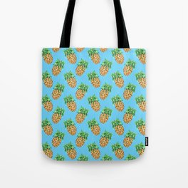 Watercolor Pineapples on Tropical Blue Tote Bag