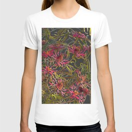 Zinnia Pink Abstract by CheyAnne Sexton T-shirt