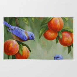 Bluebirds and Peaches Rug