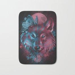 wolf art decor black Bath Mat