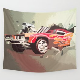 Car Breaking Through Wall Art Wall Tapestry