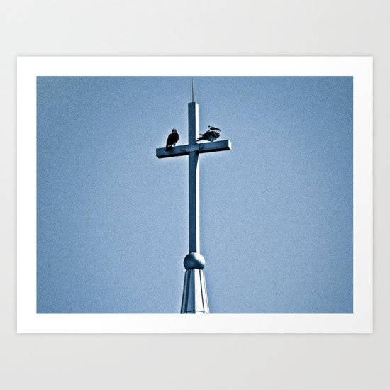 Perched on a Steeple Art Print