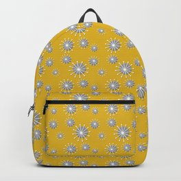 Retro Sunbursts in Mustard Yellow with Gray and White Backpack