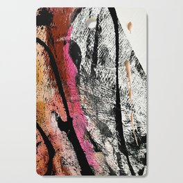 Motivation [2] : a colorful, vibrant abstract piece in pink red, gold, black and white Cutting Board