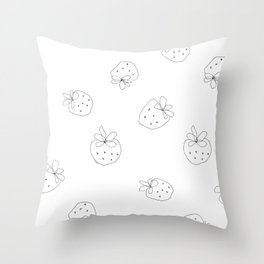 Your Color no.2 - strawberry illustration fruit pattern Throw Pillow