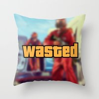 wasted rita Throw Pillows featuring Wasted by D-fens